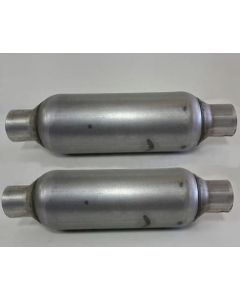 pair of single chamber performance race round Mufflers 2.5
