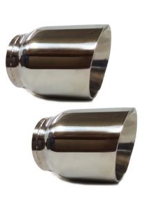 "Two 3"" Stainless Steel Dual Wall Round Universal exhaust tip"