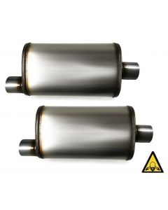 Two Universal Stainless steel straight-through perforated Performance Mufflers 2