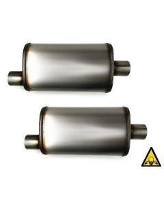 Two Universal Stainless steel straight-through perforated Performance Muffler 2.5